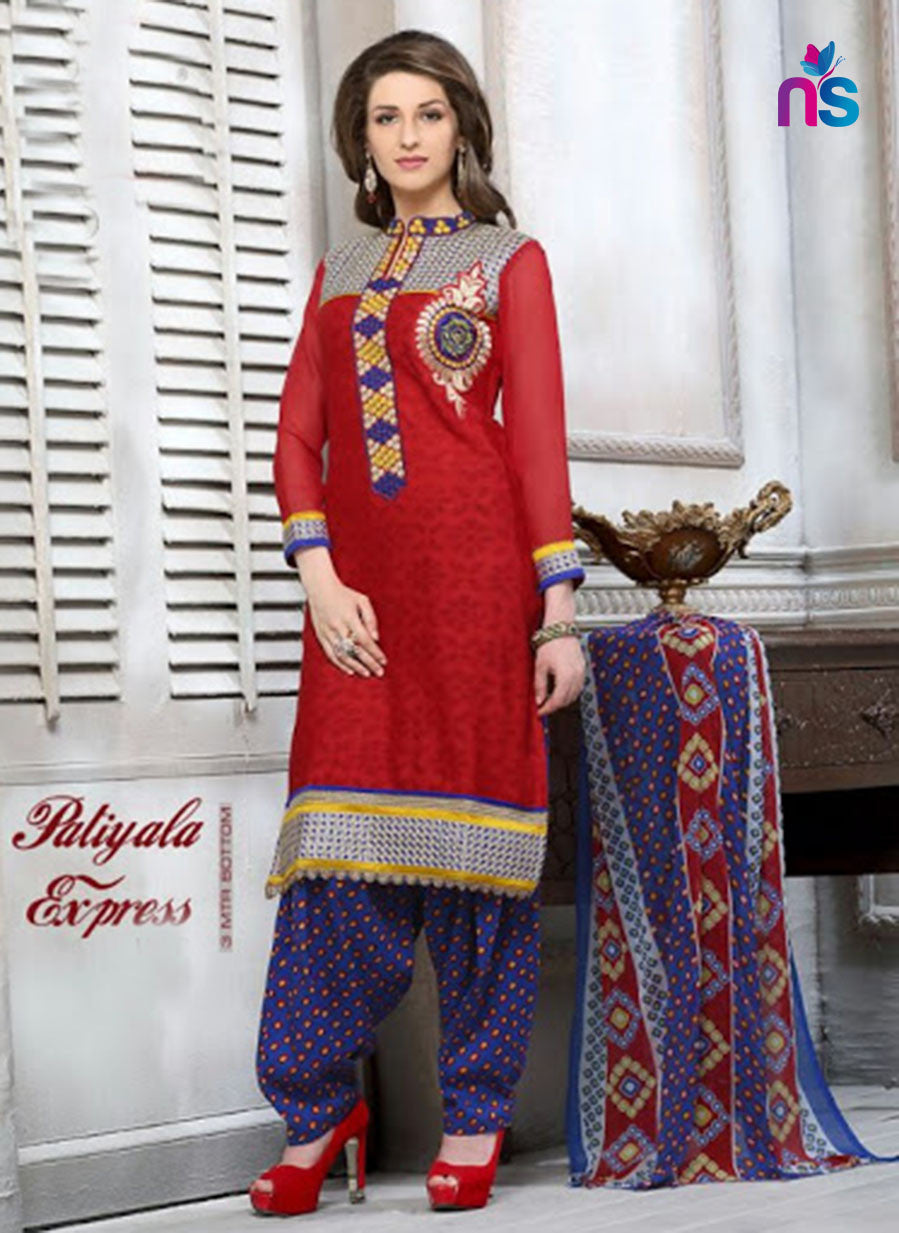 NS11320 Red and MidnightBlue Cotton Jacquard Patiyala Suit