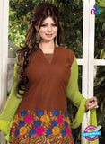 SC 12315 Brown and Green Cotton Patiala Suit