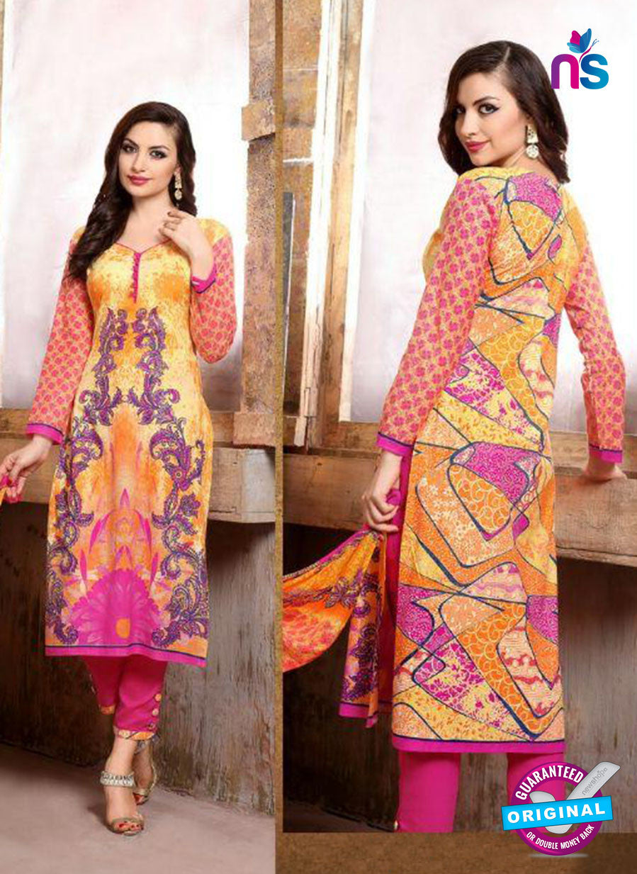 SC 13741 Orange and Magenta Cotton Designer Fancy Exclusive Printed Long Straight Salwar Suit