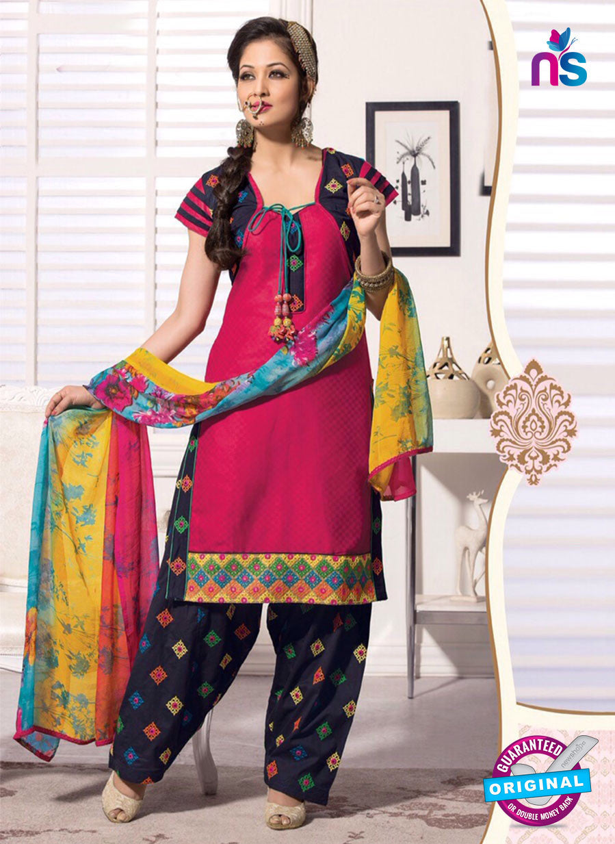 NS11107 Pink and Black Satin Jacquard Patiala Suit