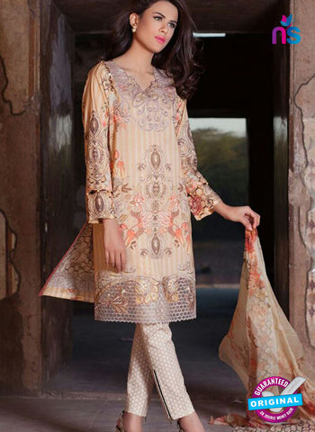 SC 12374 Beige Embroidered Patch Pure Lawn Cotton Suit
