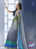 NS10553 Grey, Green and Blue Georgette Casual Saree