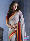 NS10552 Grey and Orange Georgette Casual Saree