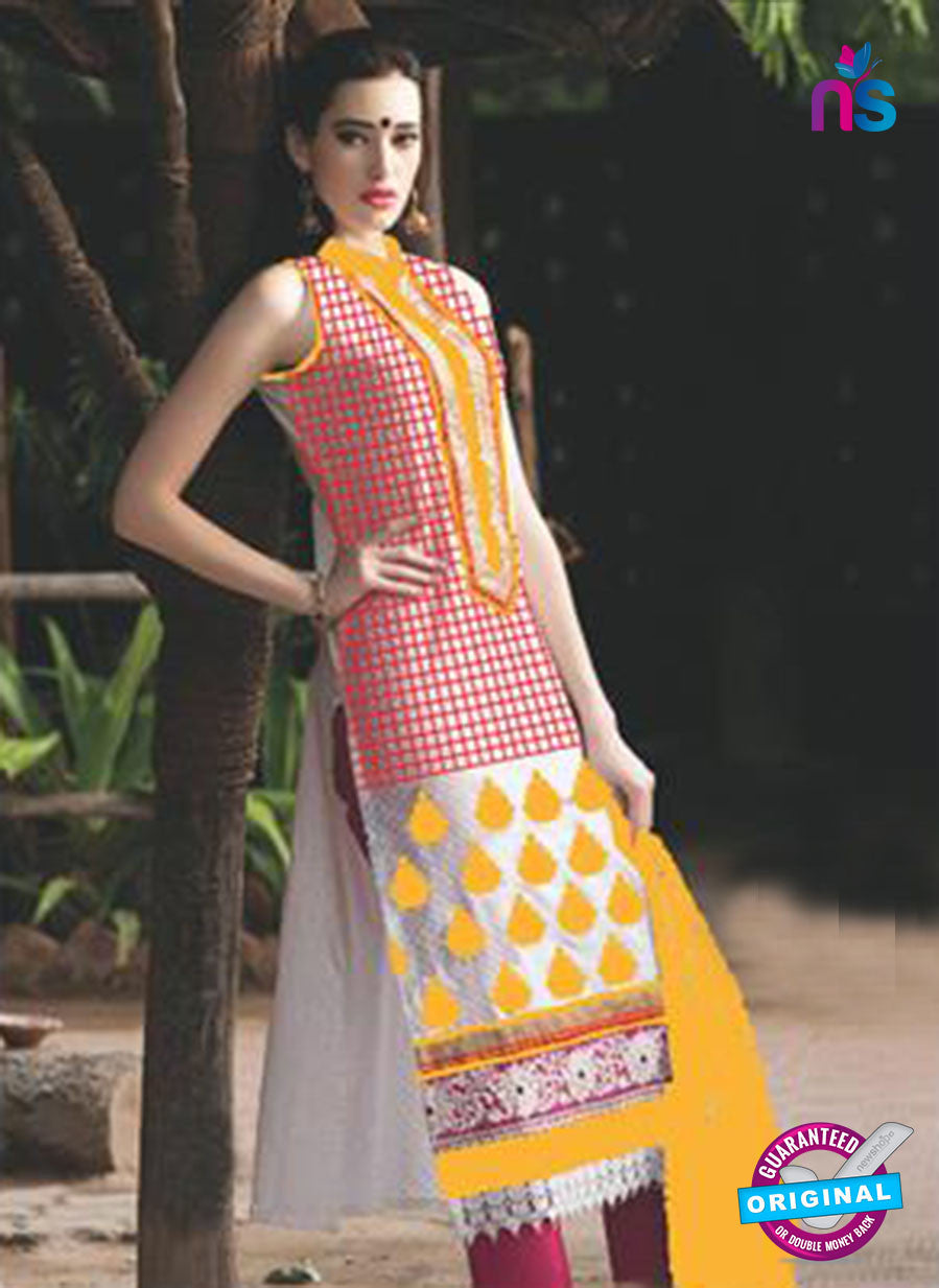 NS10093 B Red and Yellow Jacquard Cotton Straight Suit