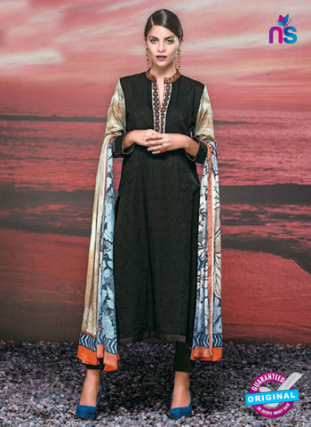 NS 12421 Black and Multicolor Cotton Satin Jacquard Party Wear Straight Suit