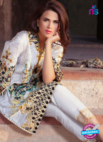 SC 12373 White and Multicolor Embroidered Patch Pure Lawn Cotton Suit