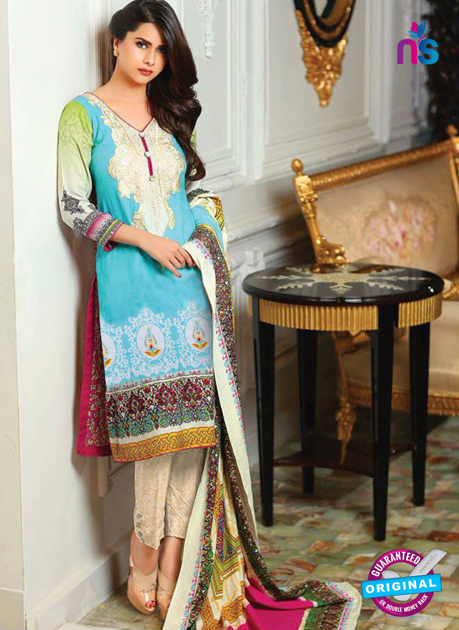 SC 13630 Sky Blue and Multicolor Embroidered Lawn Pakistani Suit