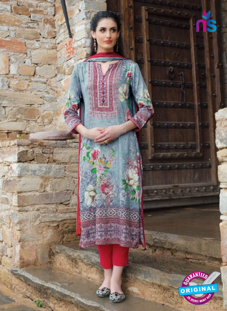 T&M 08 Blue and Red Cotton Satin Exclusive Fancy Designer Straight Plazo Suit