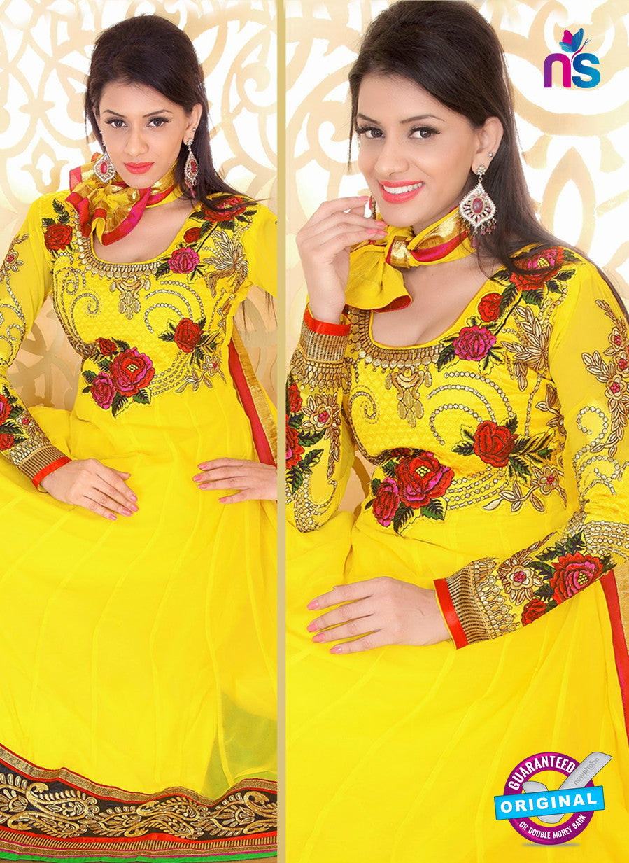 NS10933 Red and Yellow Georgette Anarkali Suit