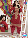 SC 13139 Red and Brown Cotton Patiala Suit