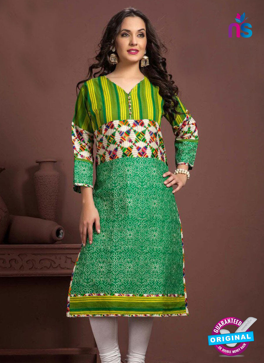SC 13349 Green and Multicolor Printed Handloom Cotton Kurti