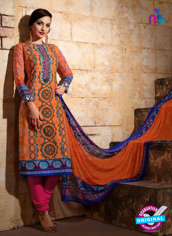 SC 13740 Orange and Blue Cotton Designer Fancy Exclusive Printed Long Straight Suit