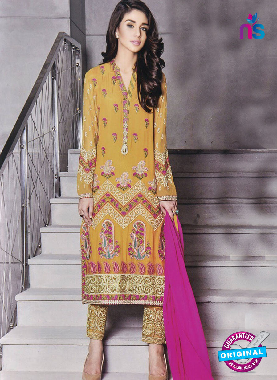 SC 13033 Designer Yellow and Magenta Embroidered Georgette Pakistani Suit