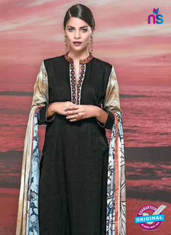 NS 12421 Black and Multicolor Cotton Satin Jacquard Party Wear Straight Suit Online