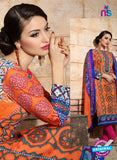 SC 13740 Orange and Blue Cotton Designer Fancy Exclusive Printed Long Straight Suit Online