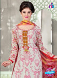 NS11055 Off White and Pink Satin Cotton Designer Straight Salwar Suit