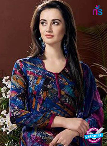 SC 42442 Blue Printed Cotton Suit