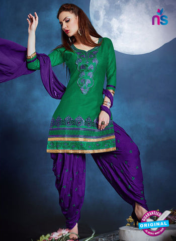 Meghali 09 Green Cotton Patiala Suit