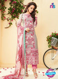 SC 13523 White and Pink Designer Fancy Cambric Suit