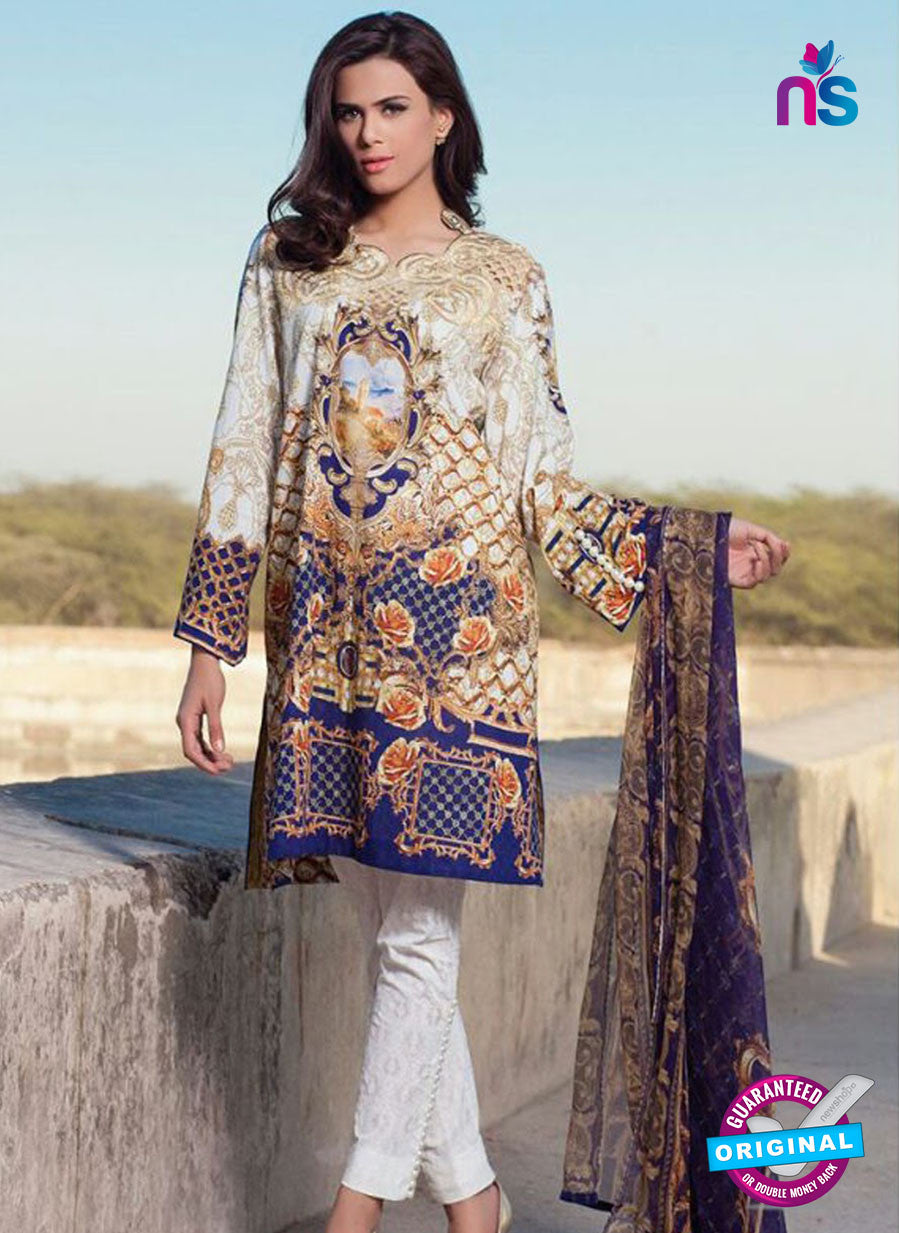 SC 12371 Beige and Blue Embroidered Patch Pure Lawn Cotton Indian Suit