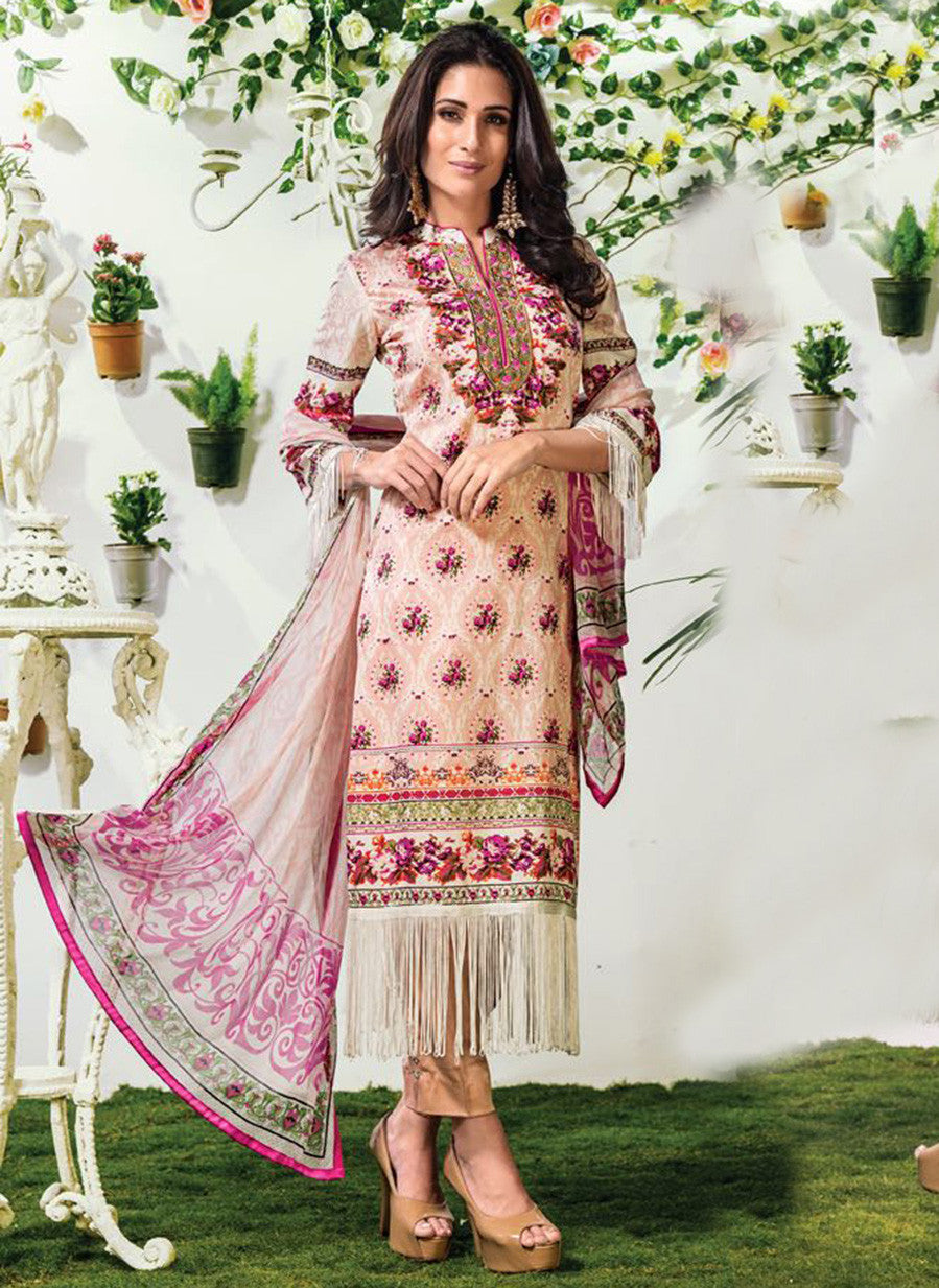 NS10901 White & Pink Color Satin Cotton Designer Suit