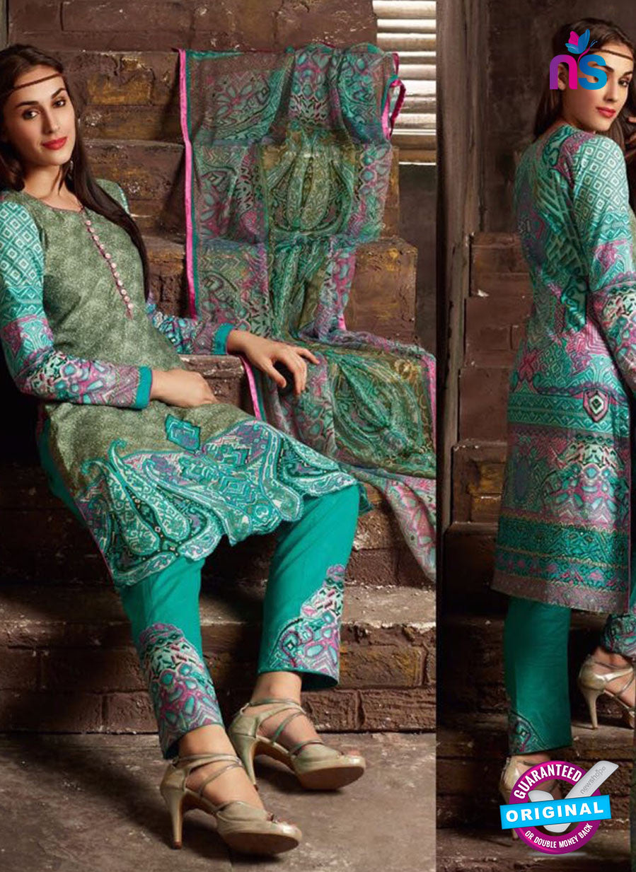 NS 12385 SeaGreen Printed Pure Lawn Suit