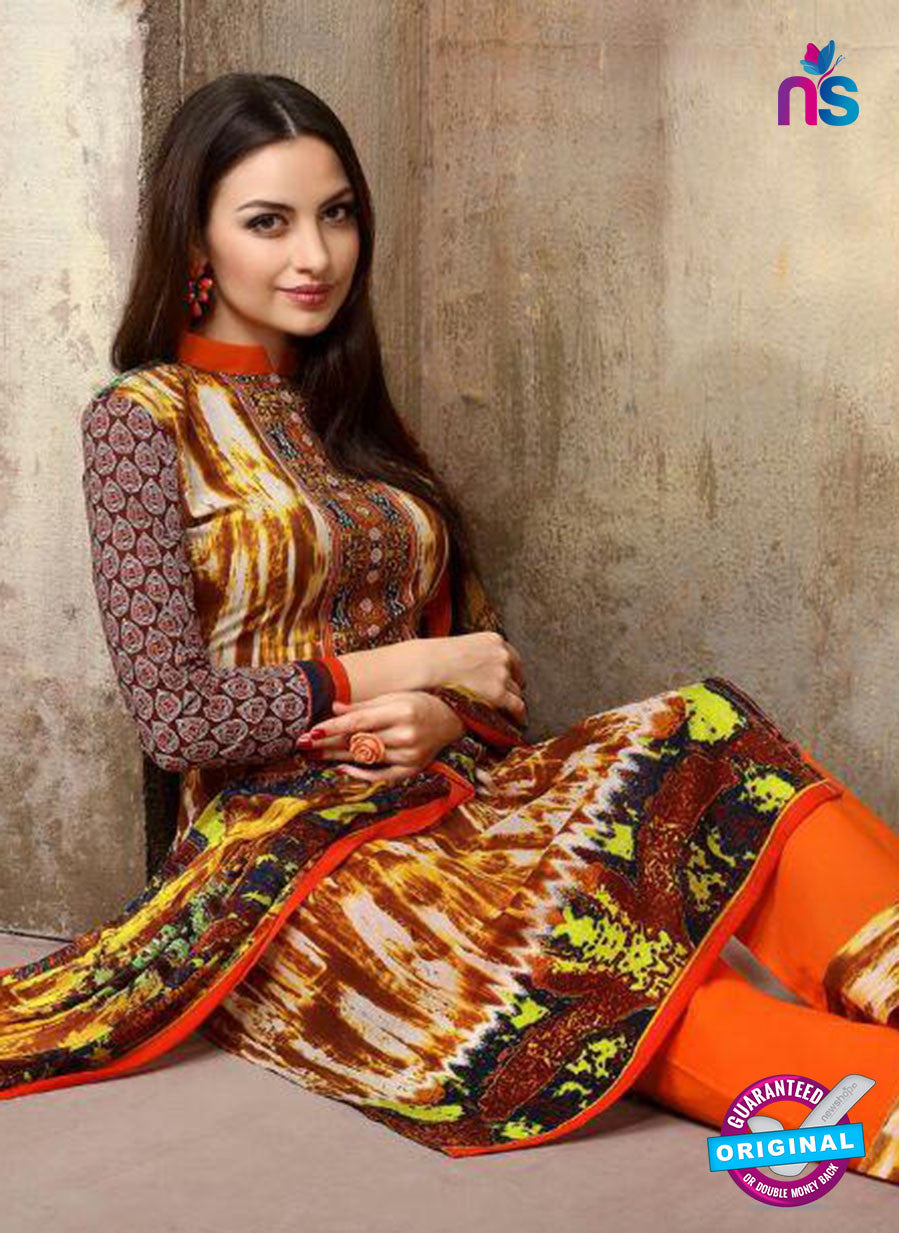 SC 13742 Multicolor and Orange Cotton Designer Fancy Exclusive Printed Long Straight Salwar Suit