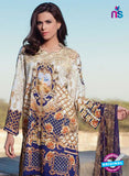 SC 12371 Beige and Blue Embroidered Patch Pure Lawn Cotton Indian Suit Online