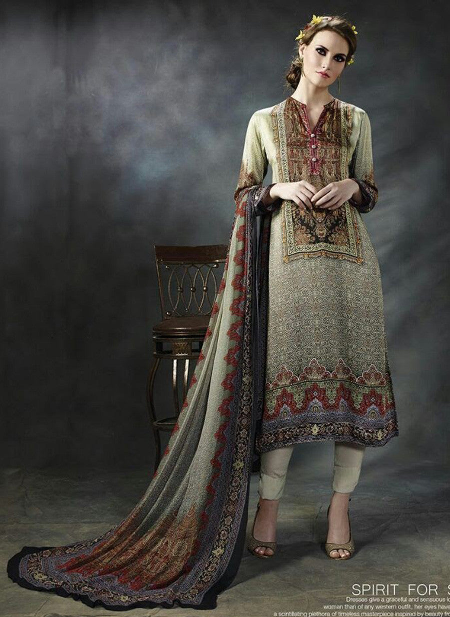 T & M 09  Beige Color Cotton Designer Suit