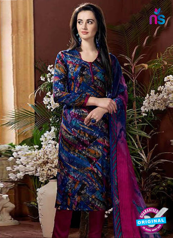 Rajavir 09 Blue Printed Cotton Suit