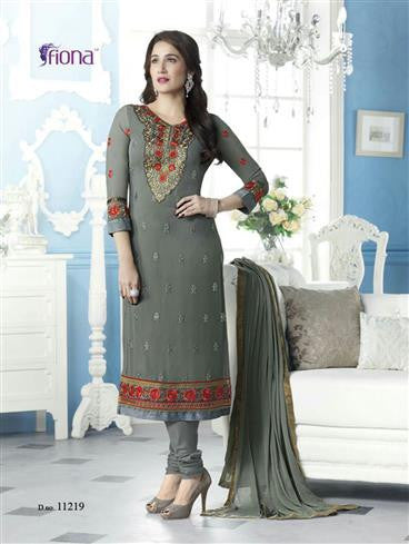 NS11541 Gray Party Wear faux Georgette Straight Suit