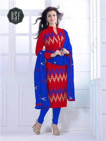 NS11552 G Red and Blue Party Wear Silk Chanderi Straight Suit