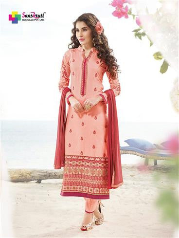 NS11890  Light Red and Maroon Satin Cotton Straight Suit
