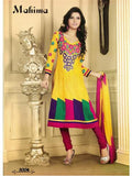 NS11048 Yellow and Dark Pink Designer Anarkali Suit