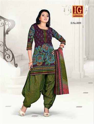 NS11703 Purple and ArmyGreen Printed Popplin Cotton Daily Wear Chudidar Suit