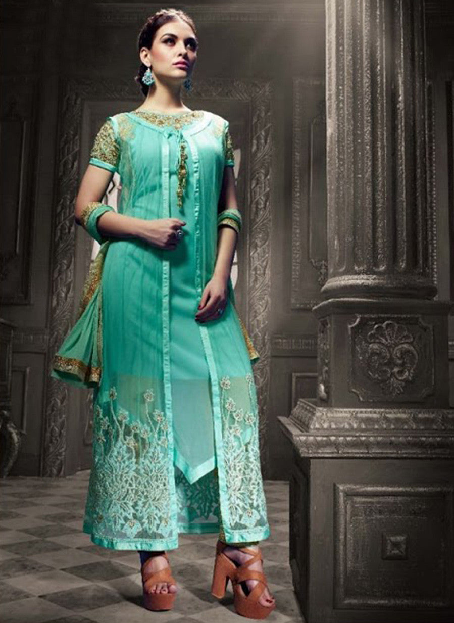 Vyna 10001 Sea Green Faux Georgette Indo Western Suit