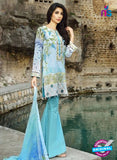 SC 12538 Blue and White Embroidered Pure Cambric Cotton Suit