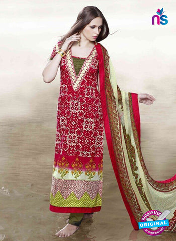Viyona 10003 Red Color Printed Cotton Pakistani Suit