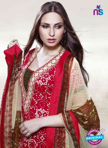 Viyona 10003 Red Color Printed Cotton Pakistani Suit Online
