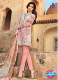 SC 12539 Peach and Multicolor Embroidered Pure Cambric Cotton Suit