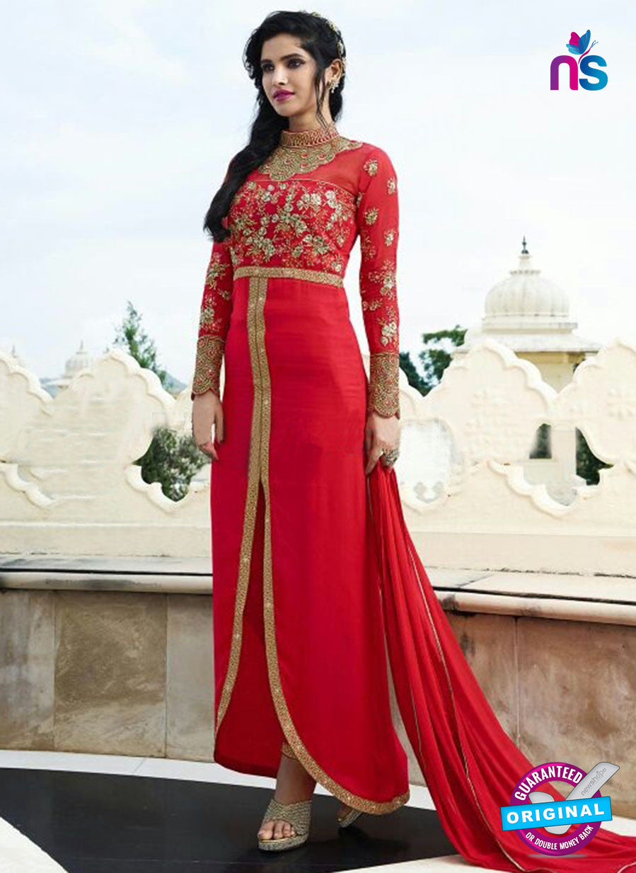 Smile 10004 Red Georgette Party Wear Suit