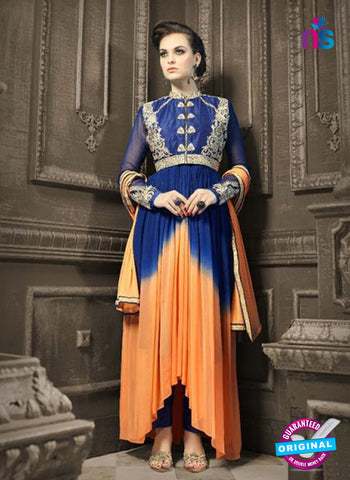 AZ 3972 Blue and Peach Faux Georgette Indo Western Suit