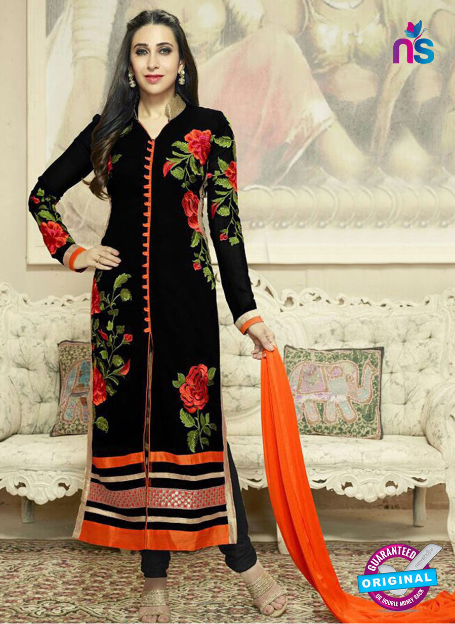 NS10013 Black and Orange Georgette Straight Suit