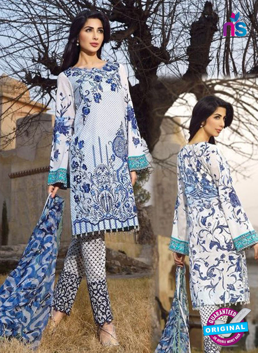 SC 12535 White and Blue Embroidered Pure Cambric Cotton Suit