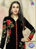 NS10013 Black and Orange Georgette Straight Suit Online