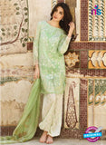 SC 12536 Green and White Embroidered Pure Cambric Cotton Suit