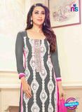 NS10014 Grey, White and Pink Georgette Straight Suit