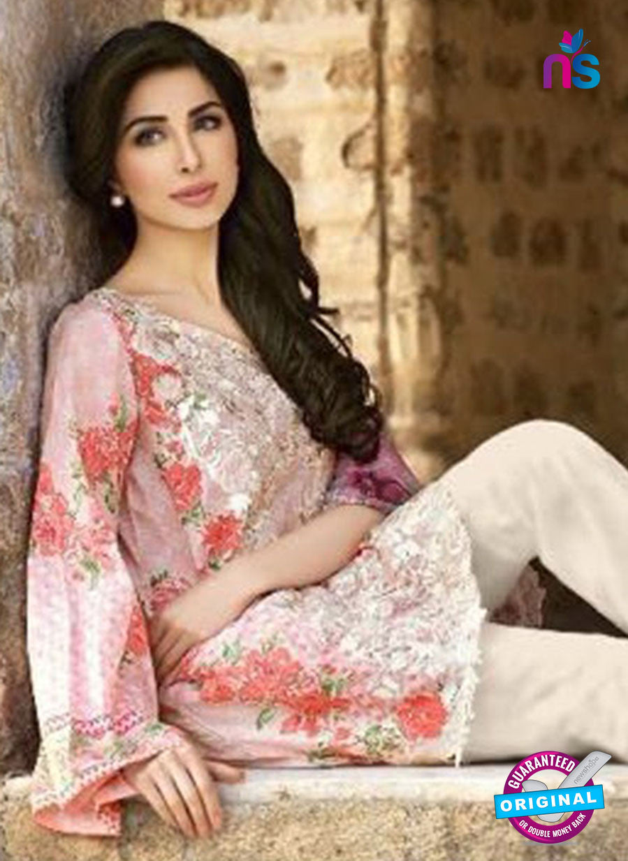 SC 12543 Pink and White Embroidered Pure Cambric Cotton Suit