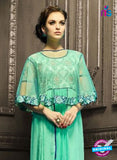 AZ 3976 Sea Green Faux Georgette Indo Western Suit