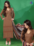 NS11502 DarkBrown Party Wear Georgette Straight Suit